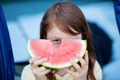 Girl Holding Slice Of Watermelon Royalty Free Stock Photos