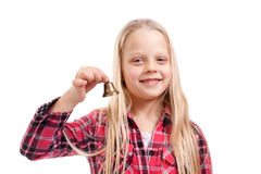 Girl holding a small bell Stock Photography