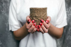 Girl holding a small lovely heart. (tiny things for a Valentine's day stock images