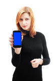 Girl holding a smartphone Royalty Free Stock Image