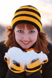 Girl holding snow Royalty Free Stock Photos