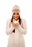 Girl holding snowballs Royalty Free Stock Photos