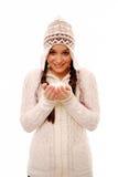Girl holding snowballs Royalty Free Stock Photos