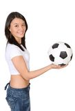 Girl holding a soccer ball Stock Photo