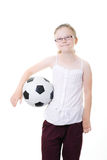 Girl holding soccer ball Stock Photos