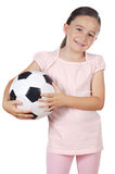 Girl holding a soccer ball Royalty Free Stock Photos