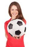 Girl holding a soccer ball Stock Image