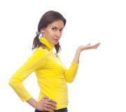Girl holding something on her palm isolated white Stock Images