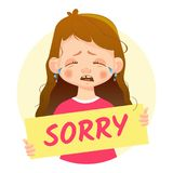 Girl holding Sorry poster-Cry. I am sorry message. Girl holding Sorry poster royalty free illustration