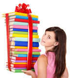 Girl holding stack of book. Stock Images