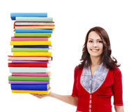 Girl holding stack color book . Royalty Free Stock Photos