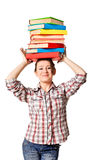 Girl holding stack color books. Stock Image