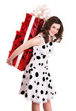 Girl  holding stack gift box. Stock Image