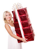 Girl holding stack  gift box . Stock Photos