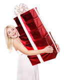 Girl holding stack  gift box. Royalty Free Stock Photography