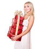 Girl holding stack  gift box .. Stock Images