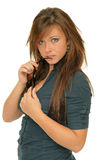 Girl holding sunglasses Stock Image