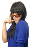 Girl holding sunglasses Royalty Free Stock Photo