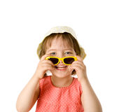 Girl holding sunglasses Stock Photos