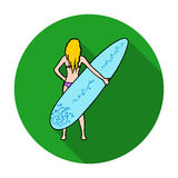 Girl is holding a surfboard icon in flat style isolated on white background.  Royalty Free Stock Image