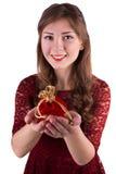 Girl holding a surprise Stock Photos