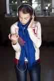Girl holding tablet Stock Photos