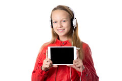 Girl holding tablet with blank screen Royalty Free Stock Image