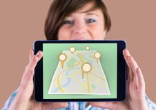 Girl Holding tablet and Map of City with marker location pointers. Digital composite of Girl Holding tablet and Map of City with marker location pointers vector illustration