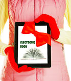 Girl holding tablet PC Royalty Free Stock Images