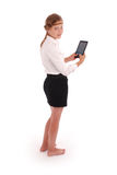Girl holding tablet pc Stock Photos