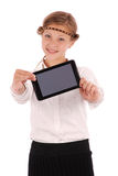 Girl holding tablet pc Stock Images