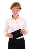 Girl holding tablet pc Royalty Free Stock Photos