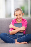 Girl holding tablet Stock Image
