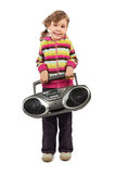 Girl holding tape recorder and smiling Stock Image