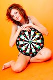 Girl Holding Target - 2 Royalty Free Stock Photography