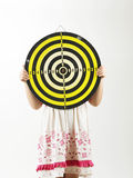 Girl holding target board Royalty Free Stock Image
