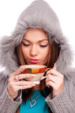 Girl holding tea Stock Photography