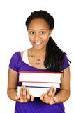 Girl Holding Text Books Stock Photo