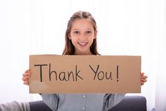 Girl Holding Thank You Placard