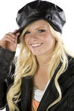 Girl holding tip of black hat Royalty Free Stock Photo