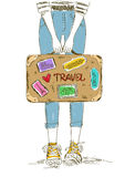 Girl holding travel suitcase Stock Image
