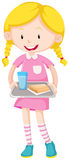 Girl holding tray of food Royalty Free Stock Photo