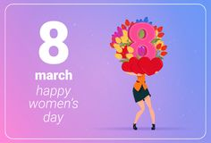 Girl Holding Tulips Flowers And Red Hearts Happy Women Day 8 March Holiday Concept. Flat Vector Illustration Stock Photos
