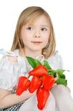 Girl holding tulips Stock Photo