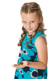 Girl holding a turtle Stock Images