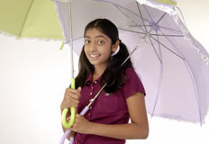 Girl holding two umbrella Royalty Free Stock Photography