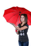 Girl holding an umbrella Stock Images