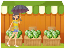 A girl holding an umbrella walking in front of the watermelon sh Royalty Free Stock Images