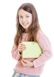 Girl holding under his arm tutorial Stock Photography