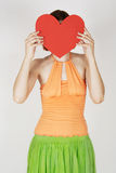 Girl Holding Valentine Heart Card Stock Photography